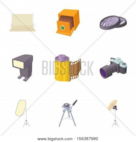Photo shooting icons set. Cartoon illustration of 9 photo shooting vector icons for web