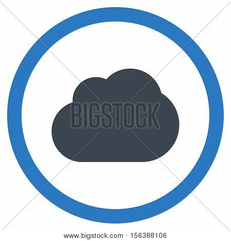 Cloud vector bicolor rounded icon. Image style is a flat icon symbol inside a circle, smooth blue colors, white background.