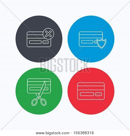 Bank credit card icons. Banking, protection and expired debit card linear signs. Linear icons on colored buttons. Flat web symbols. Vector