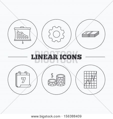 Chart, cash money and statistics icons. Coins linear sign. Flat cogwheel and calendar symbols. Linear icons in circle buttons. Vector