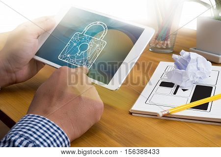 Privacy Policy Private Security Protection,businessman With Protective Gesture And Text Privacy