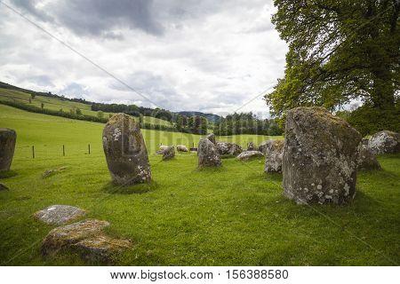 Croft Moraig stone circle near Aberfeldy Perthshire. Estimated to date from around 3000BC