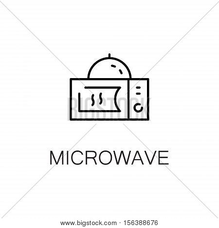 Microwave flat icon. Single high quality outline symbol of kitchen equipment for web design or mobile app. Thin line signs of microwave for design logo, visit card, etc. Outline pictogram of microwave.