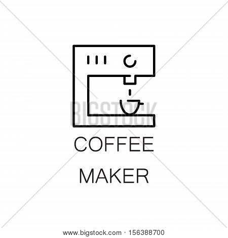 Coffee maker flat icon. Single high quality outline symbol of kitchen equipment for web design or mobile app. Thin line signs of coffee maker for design logo, visit card, etc. Outline pictogram of coffee maker