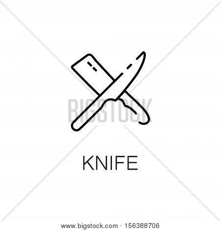 Knife flat icon. Single high quality outline symbol of kitchen equipment for web design or mobile app. Thin line signs of knife for design logo, visit card, etc. Outline pictogram of knife