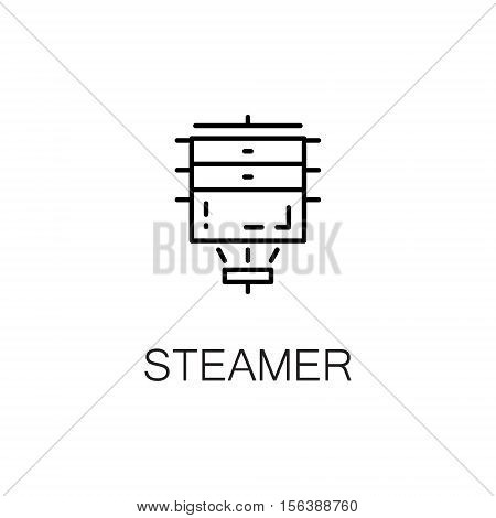 Steamer flat icon. Single high quality outline symbol of kitchen equipment for web design or mobile app. Thin line signs of steamer for design logo, visit card, etc. Outline pictogram of steamer