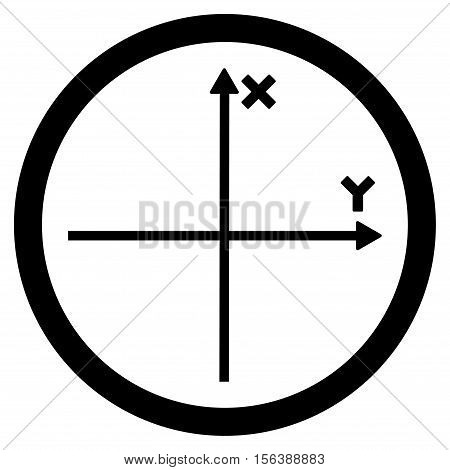 Cartesian Axis vector rounded icon. Image style is a flat icon symbol inside a circle, black color, white background.