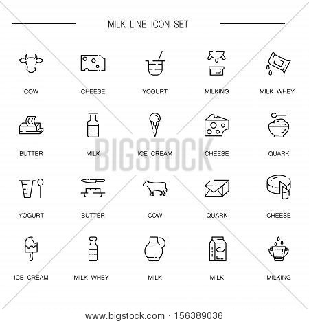 Milk flat icon set. Collection of high quality outline symbol of milk food for web design, mobile app. Vector thin line vector icons or logo of cow, milk, butter, cheese, ice cream, etc