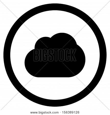 Cloud vector rounded icon. Image style is a flat icon symbol inside a circle, black color, white background.