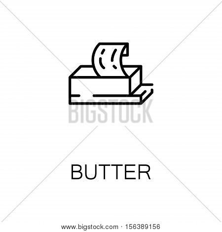 Butter flat icon. Single high quality outline symbol of milk food for web design or mobile app. Thin line signs of butter for design logo, visit card, etc. Outline pictogram of butter
