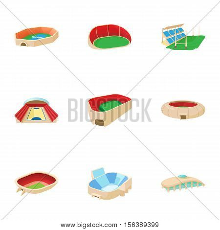 Sports stadium icons set. Cartoon illustration of 9 sports stadium vector icons for web