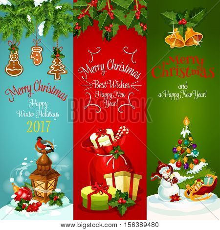 Xmas holiday banner set. Christmas tree with ball, gift bag with present and candy, snowman with santas sleigh and lantern with bullfinch, adorned by holly and pine branches with bell and gingerbread