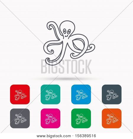Octopus icon. Ocean devilfish sign. Linear icons in squares on white background. Flat web symbols. Vector