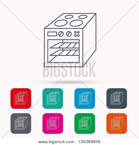 Oven icon. Electric stove sign. Linear icons in squares on white background. Flat web symbols. Vector