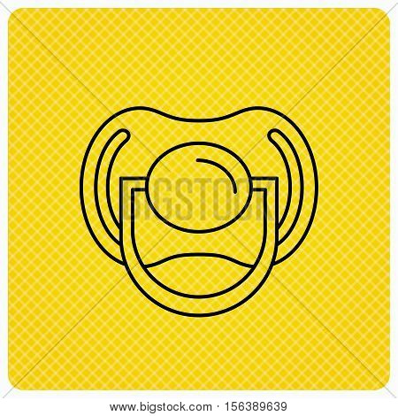 Pacifier icon. Nipple or dummy sign. Newborn child relax equipment symbol. Linear icon on orange background. Vector