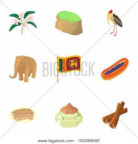 Sri Lanka icons set. Cartoon illustration of 9 Sri Lanka vector icons for web