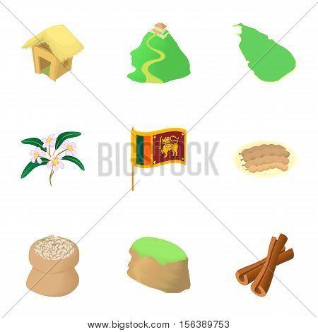 Holiday in Sri Lanka icons set. Cartoon illustration of 9 holiday in Sri Lanka vector icons for web