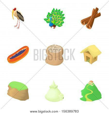 Attractions of Sri Lanka icons set. Cartoon illustration of 9 attractions of Sri Lanka vector icons for web