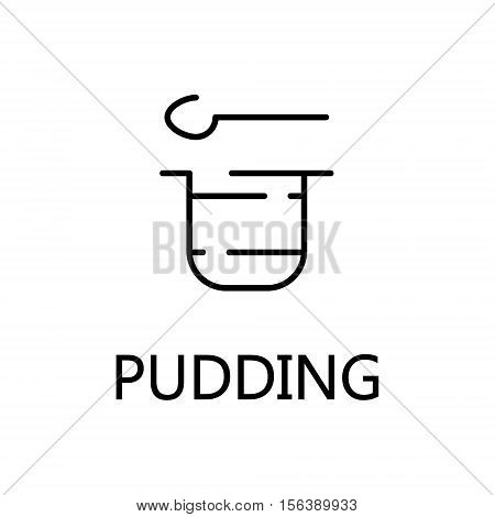 Pudding flat icon. Single high quality outline symbol of sweets for web design or mobile app. Thin line signs of pudding for design logo, visit card, etc. Outline pictogram of pudding
