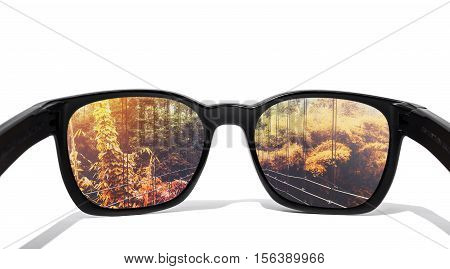 Eye glasses, isolated on white background, with seasons change forest in lens, isolated on white background