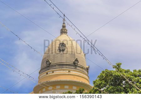 Old style building dome against blue sky in Recife Pernambuco Brazil