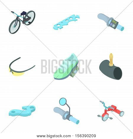 Race cycling icons set. Cartoon illustration of 9 race cycling vector icons for web