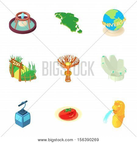 Country Singapore icons set. Cartoon illustration of 9 country Singapore vector icons for web