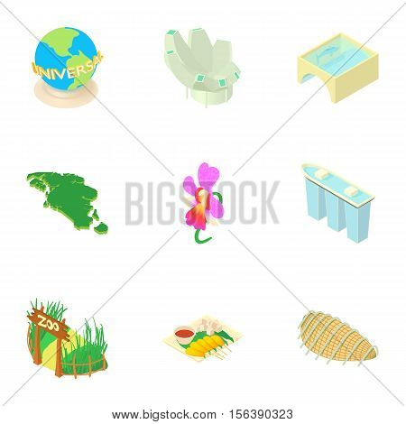 Holiday in Singapore icons set. Cartoon illustration of 9 holiday in Singapore vector icons for web