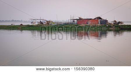 Shack On The Lake In Mandalay, Myanmar