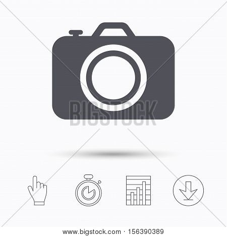 Camera icon. Professional photocamera symbol. Stopwatch timer. Hand click, report chart and download arrow. Linear icons. Vector