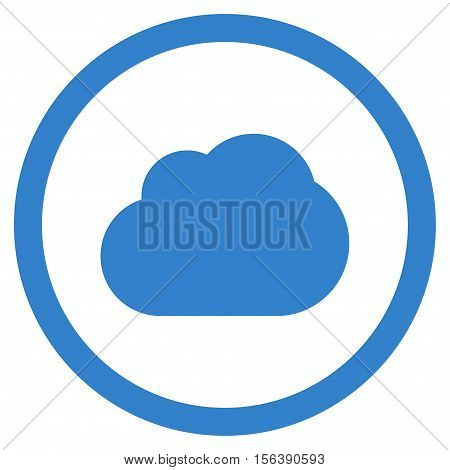 Cloud vector rounded icon. Image style is a flat icon symbol inside a circle, cobalt color, white background.