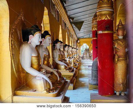 Buddha Statues At Main Hall In Pagoda