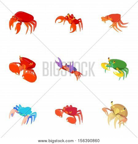 Crayfish icons set. Cartoon illustration of 9 crayfish vector icons for web