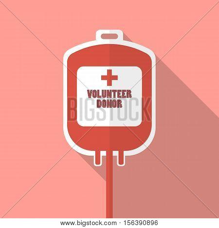 Blood donation bag. Flat style vector illustration