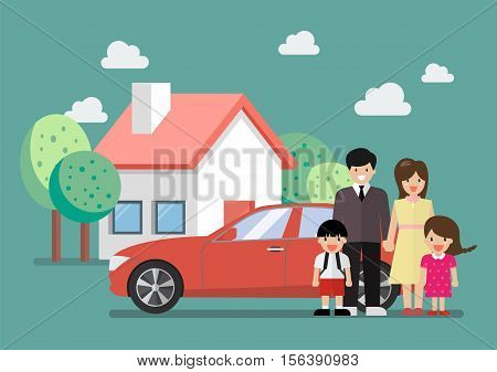 Happy family standing against car and house. Vector illustration cartoon