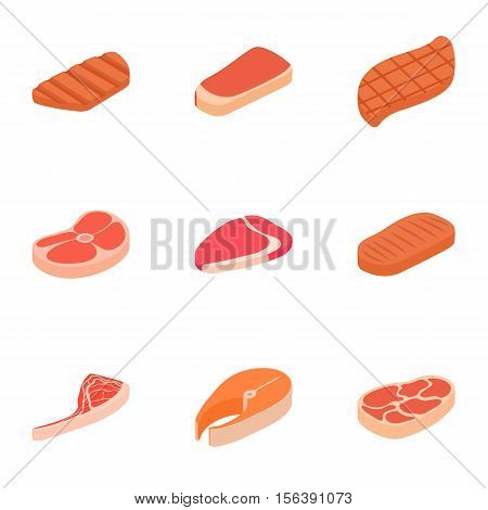 Kind of meat icons set. Cartoon illustration of 9 kind of meat vector icons for web