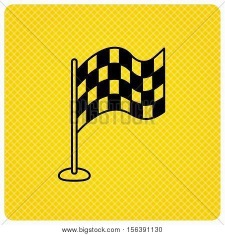 Racing flag icon. Finishing symbol. Linear icon on orange background. Vector
