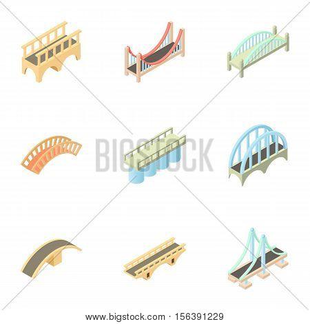 Types of bridges icons set. Cartoon illustration of 9 types of bridges vector icons for web