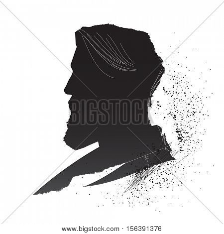 Bearded man inky silhouette. Vintage handcrafted male profile