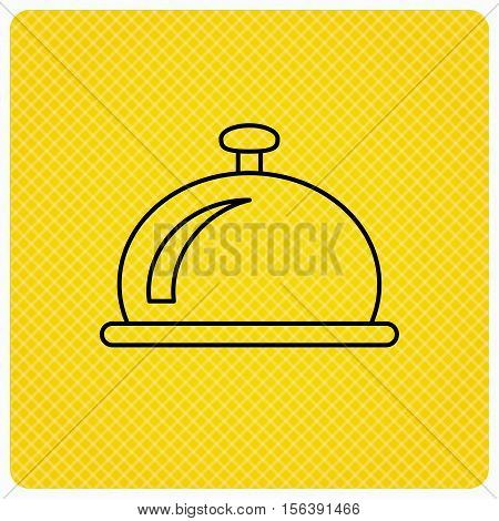Reception bell icon. Hotel service sign. Linear icon on orange background. Vector