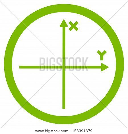 Cartesian Axis vector rounded icon. Image style is a flat icon symbol inside a circle, eco green color, white background.