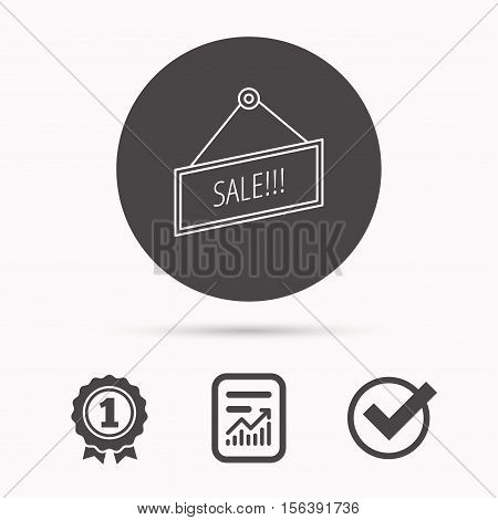 Sale icon. Advertising banner tag sign. Report document, winner award and tick. Round circle button with icon. Vector