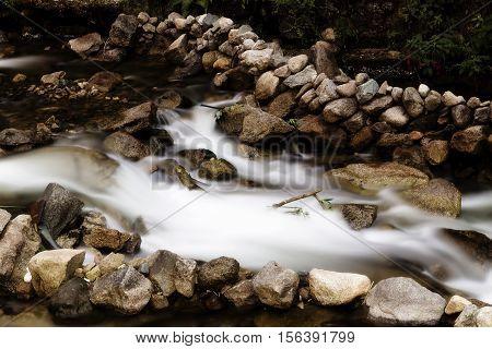 Stream Running Over Rocks Machu Picchu City Peru South America