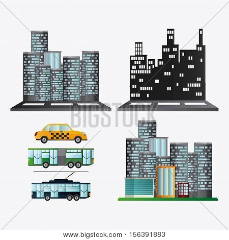 Bus trolley taxi vehicle and city buildings. Public Transportation travel and ride theme. Isolated and colorful design. Vector illustration