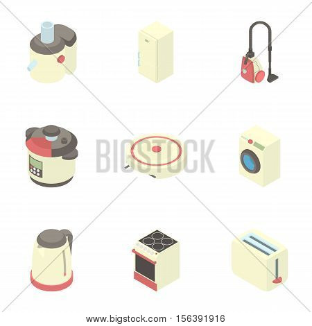 Electronic kitchen equipment icons set. Cartoon illustration of 9 electronic kitchen equipment vector icons for web
