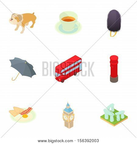 England icons set. Cartoon illustration of 9 England vector icons for web
