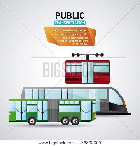 Bus train railways and cable car vehicle icon. Public Transportation travel and ride theme. Isolated and colorful design. Vector illustration