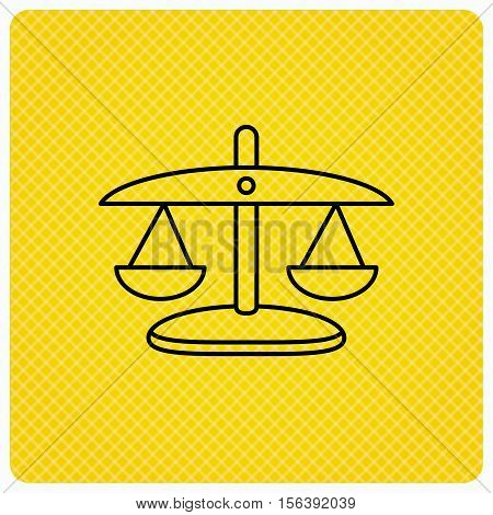 Scales of Justice icon. Law and judge sign. Measurement tool symbol. Linear icon on orange background. Vector