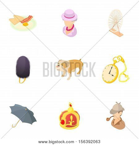 Holiday in England icons set. Cartoon illustration of 9 holiday in England vector icons for web