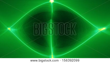 Abstract Pattern On Dark Background With Green And Yellow Lines Curves Particles